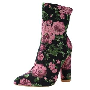 Mauve Floral Pointy Toe Cylinder Block Ankle Boot